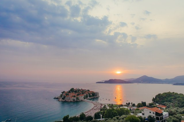 Wedding in Montenegro - Sveti Stefan island sundown