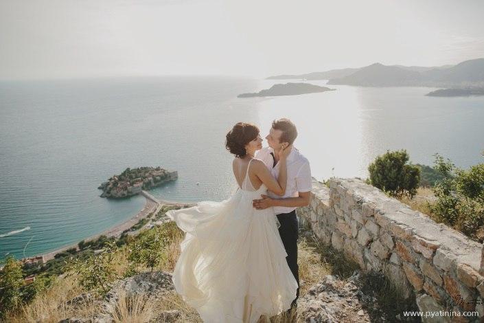 Wedding in Montenegro - Sveti Stefan island view
